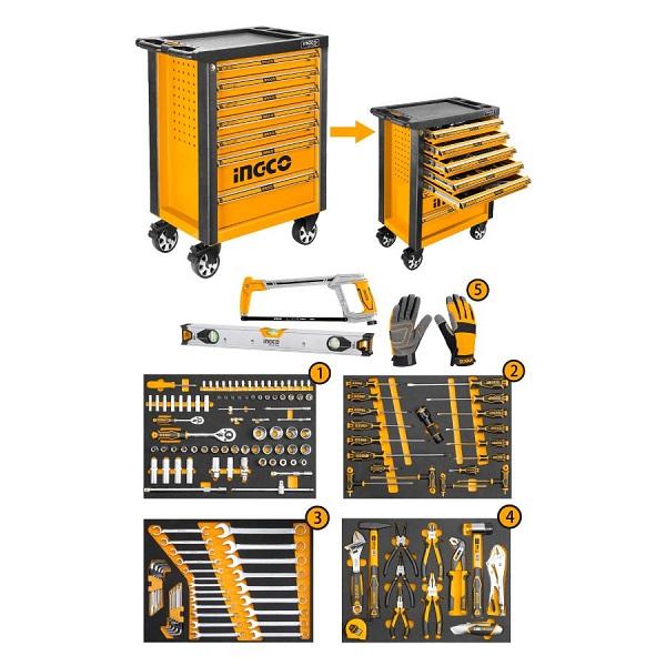 Bộ 162 công cụ trong tủ kéo 4 ngăn Ingco HTCS271621