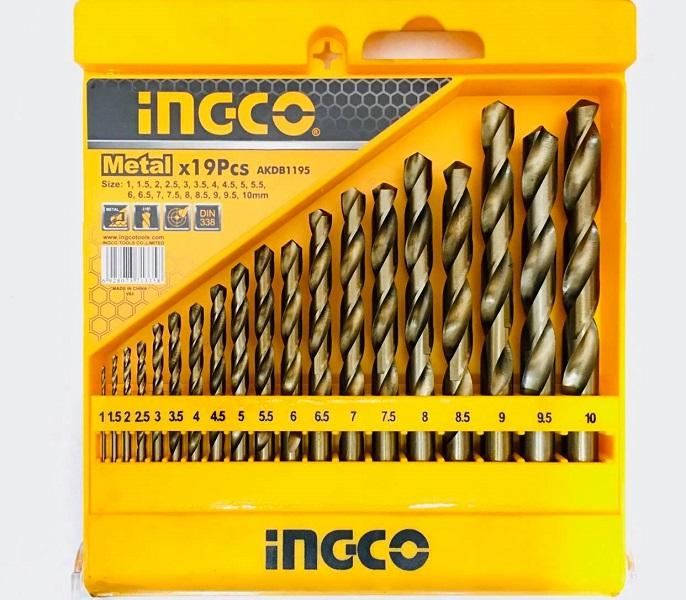 Bộ 19 mũi khoan kim loại HSS Ingco AKDB1195