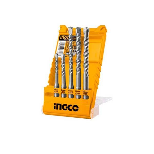 Bộ 5 mũi khoan bê tông đuôi gài Ingco AKD2052
