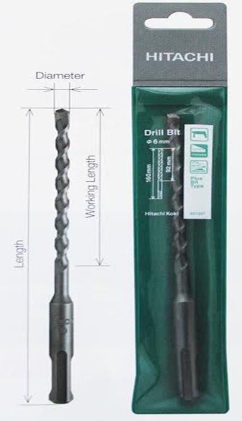 Mũi khoan bê tông SDS PLUS 15x460mm Hitachi 401016