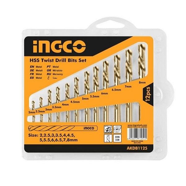 Bộ 12 mũi khoan kim loại HSS Ingco AKDB1125