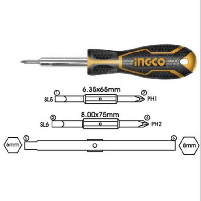 Bộ tua vít 6 đầu Ingco AKISD0608