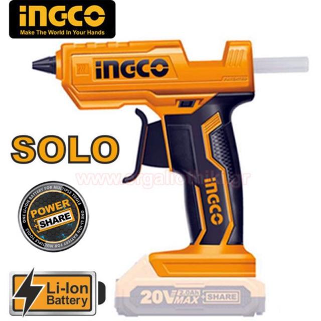 Súng bắn keo dùng pin Lithium Ingco CGGLI2001 (20V) (Chưa Pin & Sạc)