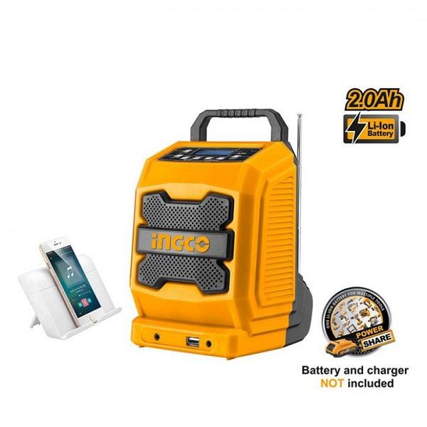 Radio công trường dùng pin Lithium Ingco CJRLI2001 (20V) (Chưa Pin & Sạc)